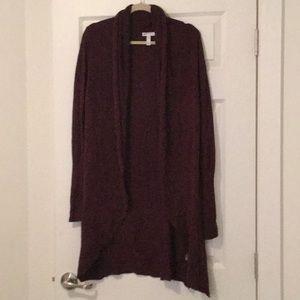 Long burgundy open cardigan size XS